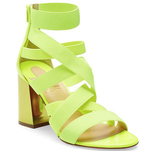 Christian Louboutin Gladiapop Strappy Criss Cross Fluo Neon Metal Sandals